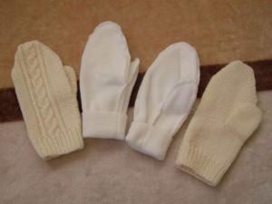手編みミトン、フリースで2重仕立て