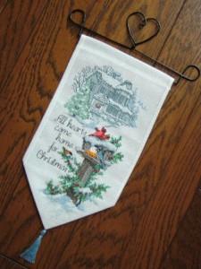 クロスステッチのクリスマス飾り完成