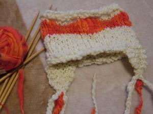 耳あてつき帽子編みました