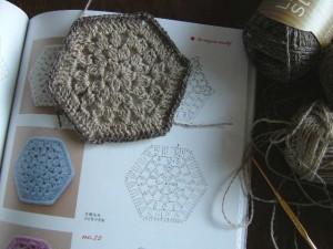 リネン糸で編んだコースター