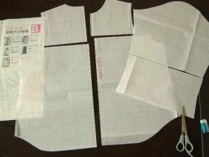 7分袖ブラウスの型紙パーツ