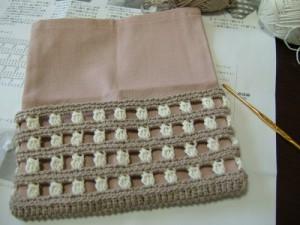 ロールポーチキットの手編み部分完成