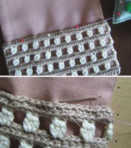 ロールポーチキット、手編み部分を縫い付けているところ