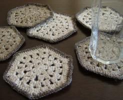 手編みコースター、6個セット