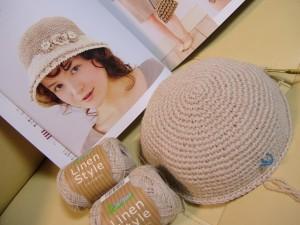 手編み帽子、編み始め