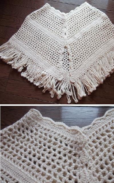 手編みポンチョ本体完成