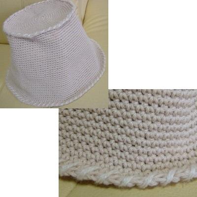 細編みだけの帽子、完成
