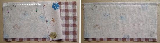 ポケット布を縫い合わせる