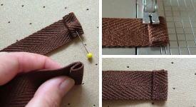 ひもの端を縫う